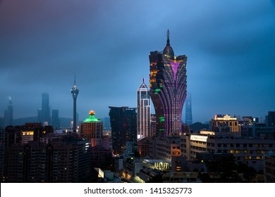 MACAU, CHINA - April 27: buildings of  Macau  casino on April 27, 2019, Casino is the landmark of Macau city in China