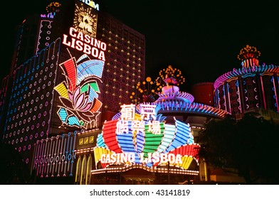 MACAU, CHINA - CIRCA JUNE 2008: Macau is Asia's gambling capital and the worlds largest gambling market in terms of revenue.  The Casino Lisboa is one of the oldest casinos in Macau.