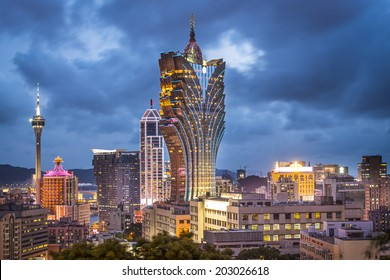 Macau, China city skyline.