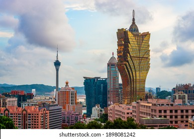 Macau, China city skyline with resort casinos.