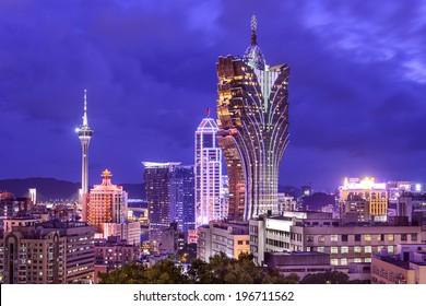 Macau, China cityscape at the resorts.