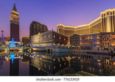 MACAU, CHINA - December  16, 2017: The Venetian MACAU interior view. Macau is the gambling capital of Asia. on DEC 16,2017 in MACAU