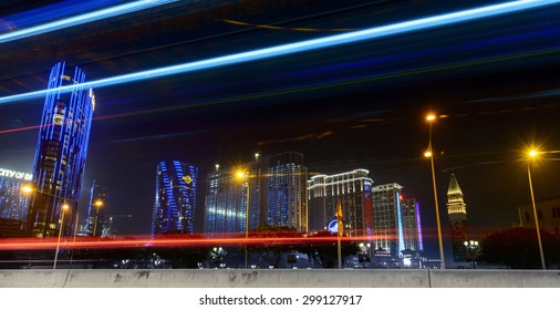 Macau, China - February 17, 2015: Ciyescape of Macau at night. Located near The Venetian Macao, Macau.