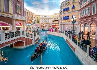 Macau, China - February 25, 2017: view of the The Venetian Macao San Luca Canal. It  is a luxury hotel and casino resort in Macau