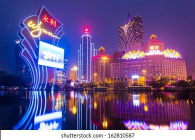 MACAU, CHINA - JANUARY 28: buildings of Macau Galaxy casino on January 28, 2013, Galaxy Casino is the landmark of Macau city in China.