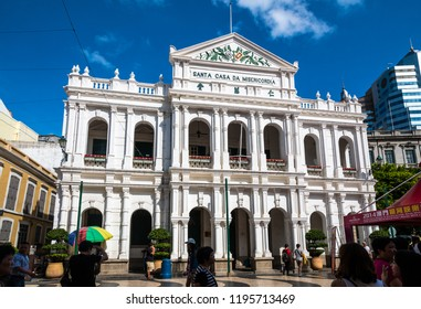 Macau, China - JULY 11, 2014: The facade of the Holy House of Mercy of Macau, a Neoclassical-style building in Senado Square, right in the city centre. It is listed as a UNESCO World Heritage Site.