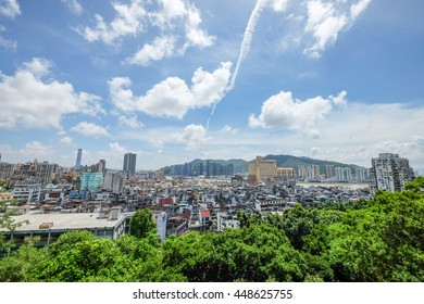 MACAU , CHINA , JULY 2 : The top view of Macau from the Monte Fortress on July 2 2016.