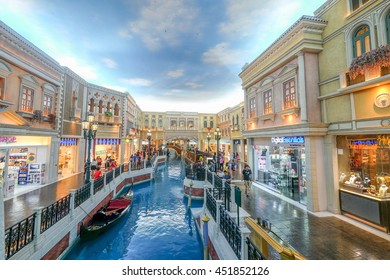 MACAU , CHINA - JULY 2 : The Venetian Macau is the very large luxury hotel with indoor Venice style shopping mall and casino in Macau on July 2 2016.