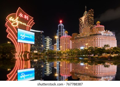 MACAU, CHINA - JUNE 30, 2016: Wynn Casino and Grand Casino Lisboa on June 30, 2016 in Macau. Macau is the world's top casino market and Casino Lisboa is one of the most well known casinos in the city.
