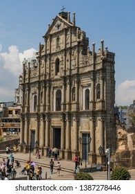 Macau, China - March 13th 2018 - Portuguese colony until 1999, and a Unesco World Heritage site, Macau has many landmarks from the colonial period. Here in particular the St. Paul's ruins