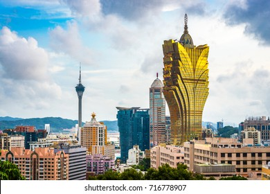 MACAU - CHINA - MAY 21, 2014: The skyline of Macau.