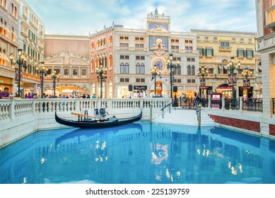 MACAU, CHINA - MAY 22th 2014 : The Venetian Hotel, Macao - The famous shopping mall, luxury hotel and the largest casino in the world