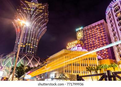 MACAU, CHINA - NOV 21, 2017: Iconic skyscraper of Grand Lisboa at night. Located in the Central Business District, Macau Peninsula.