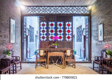 MACAU, CHINA - NOV 22, 2017: Interior of Lou Kau Mansion built with Portuguese decoration and Chinese architecture style. The old house is a historical building in, Macau, China.