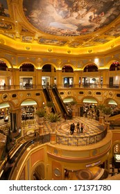 MACAU, CHINA - NOVEMBER 2, 2012: The Venetian - very famous entertainment complex includes the largest shopping mall, luxurious hotels and the largest casino in the world. Evening time.