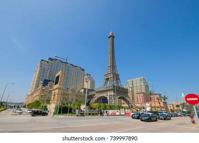 Macau, China - Oct  20: The Macau Eiffel Tower, symbol of The Parisian Hotel , a luxury Resort Hotel Casino in Cotai island Macau on October 20, 2017.