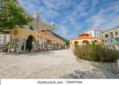 MACAU, CHINA - OCT 20 : Vila da Taipa is the old village of Taipa island, this place have many street food, restaurant, and souvenir shop on October 20, 2017.
