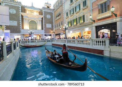 MACAU, CHINA - OCTOBER 21, 2017: Interior view of the Venetian Macao-Resort-Hotel, the famous shopping mall,luxury hotel and the gambling capital of Asia.