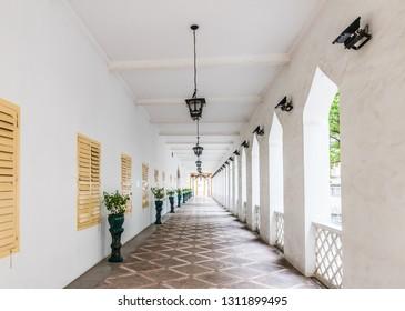 Macau, China - October 23, 2018: Corridors of the Moorish Barracks in Macau, China.