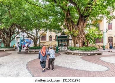 Macau, China - October 23, 2018: Lilau Square (Largo do Lilau) in Macau, China.