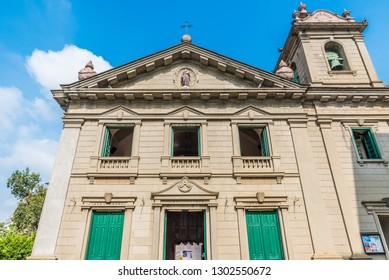 Macau, China - October 24, 2018: Facade of the St. Anthony's Church in Macau, China.