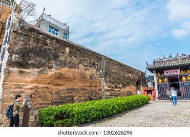 Macau, China - October 24, 2018: Section of the Old City Walls and the Na Tcha Temple in Macau, China.
