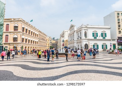 Macau, China - October 24, 2018: View of the Senado Square in Macau, China.