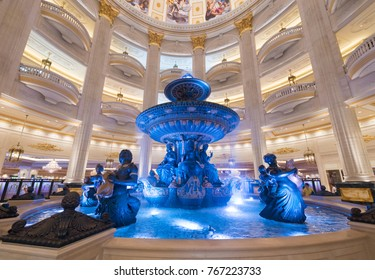 MACAU, CHINA - SEPT 2017: A fountain at the Parisian hotel hall. Macaus gaming revenue has been the worlds largest since 2006 with the economy heavily dependent on gaming and tourism