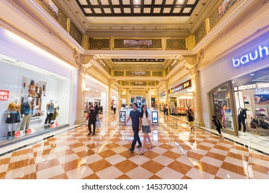 MACAU, CHINA - SEPT 2017: Gallery of various boutiques and stores at the Venetian Macao. It is a luxury hotel and casino resort in Macau owned by the American Las Vegas Sands company.