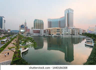 MACAU, CHINA - SEPT 2017: The Venetian Macao exterior. It is a luxury hotel and casino resort in Macau owned by the American Las Vegas Sands company