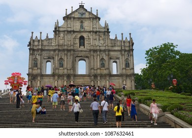 MACAU, CHINA - SEPTEMBER 09, 2013: Unidentified people visit ruins of the St. Paul's catholic cathedral in Macau, China.
