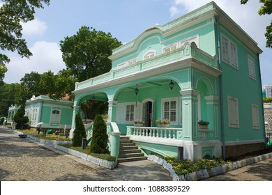 MACAU, CHINA - SEPTEMBER 12, 2013: Exterior of the traditional Portuguese house in Taipa village, Macau.