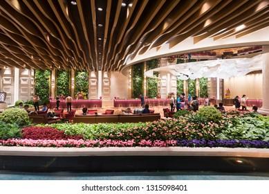 MACAU, CHINA - SEPTEMBER 15, 2017: The reception of Galaxy hotel at night. Galaxy Macau is a resort located on the Cotai Strip, Macau, China