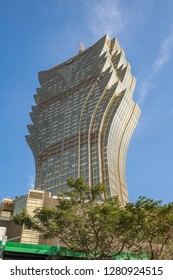 Macau, China: September 21, 2018: The Grand Lisboa in Downtown Macau.   The Grand Lisboa hotel opened on December 2008.