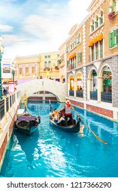 Macau, China - September 8, 2018 : Venetian is the landmark of macau city this place is luxury shopping mall hotel and casino