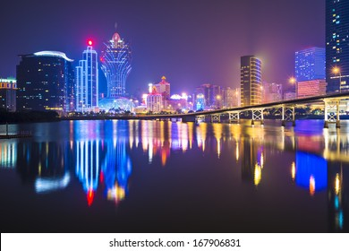 Macau, China skyline at the high rise casino resorts.