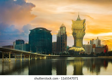 Macau cityscape. Landscape of Macau business building with reflection with blue sky. Macaw city at dusk.