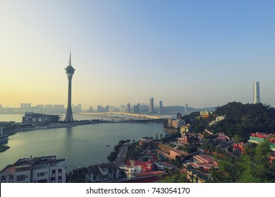 Macau Cityscape with Macau Tower in morning light, Macau, China.