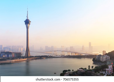 Macau Cityscape with Macau Tower in twilight, Macau, China.