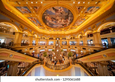 Macau, DEC 24: Interior view of the famous Venetian Macao Casino with a big christmas tree on DEC 24, 2018 at Macau