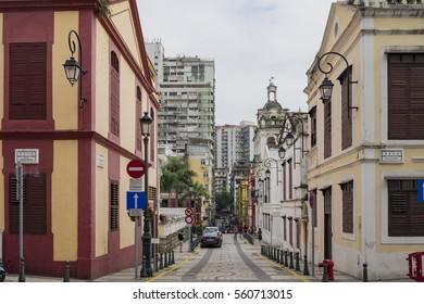 Macau, DEC 29: The historical Bairro de Sao Lazaro area on DEC 29, 2016 at Macau, China