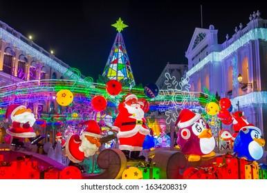 MACAU - DEC 29 : Lights installation in Macau during the annual Macau Light festival on December 29 2019.