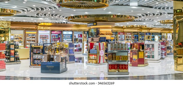 MACAU - DECEMBER 1, 2015: King Power Duty Free Macau, Shilla, Sky Connection store at Macau International Airport Terminal sells liquor, tobacco, chocolate, jewelry, perfume, cosmetics, local products