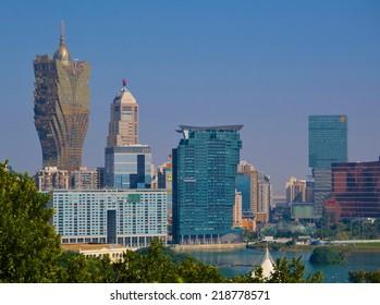 MACAU, MACAU, DECEMBER 20, 2013: View over skyline of Macau casinos.