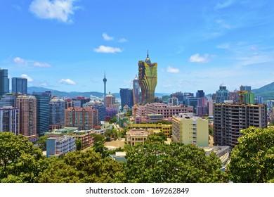 Macau downtown buildings