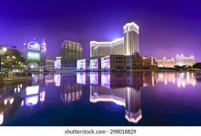 Macau - February 17, 2015: The Venetian Macao at night. It is a luxury hotel and casino resort in Macau. Venetian Macao is modeled on its sister casino resort The Venetian Las Vegas.