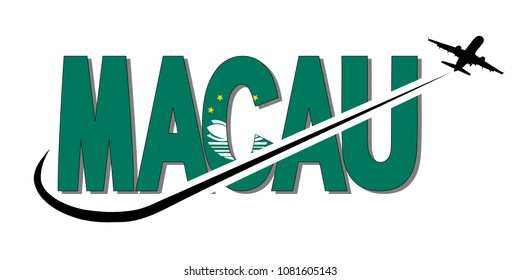 Macau flag text with plane silhouette and swoosh illustration