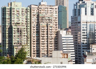 Macau island has a very high population density reflected in the very crowded residential area