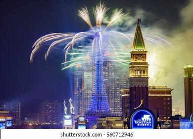 Macau, JAN 1: Parisian Macao new year fireworks on JAN 1, 2017 at Macau