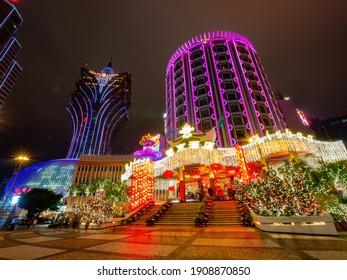 Macau, JAN 22, 2012 - Night exterior view of the famous Casino Lisboa